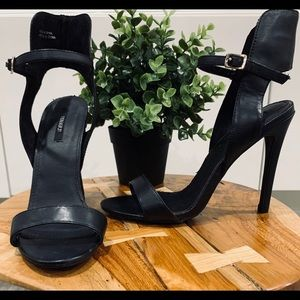 Forever 21 Black Strappy Heels SZ 6.5